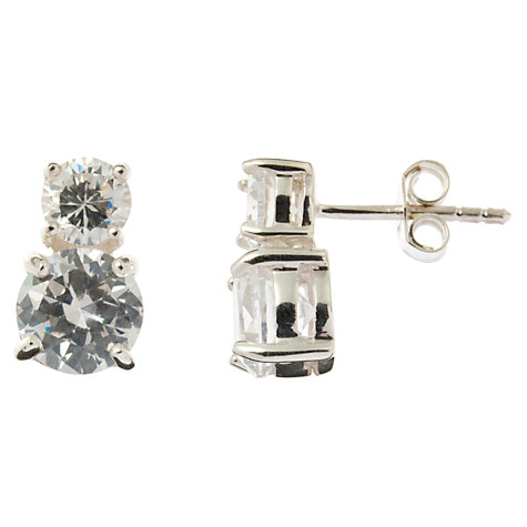 Buy Nina B Double Cubic Zirconia Stud Earrings, Clear Online at johnlewis.com