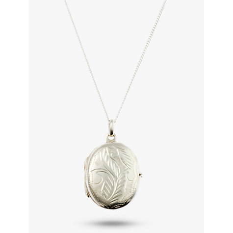 Buy Nina Breddal Floral Engraved Locket Pendant Necklace, Silver Online at johnlewis.com