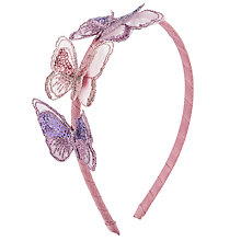 Buy John Lewis Girl Sequin and Organza Butterflies Alice Band, Pink Online at johnlewis.com