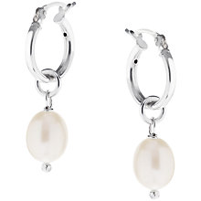 Buy Claudia Bradby Sterling Silver Pearl Drop Hoop Earrings, White Online at johnlewis.com
