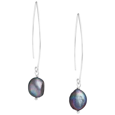 Buy Claudia Bradby Sterling Silver Baroque Pearl Trapeze Drop Earrings, Dark Grey Online at johnlewis.com