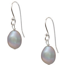 Buy Claudia Bradby Molten Sterling Silver Oval Baroque Pearl Drop Earrings, Silver Grey Online at johnlewis.com