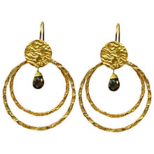 Buy Azuni Double Hoop Drop Earrings, Black Onyx Online at johnlewis.com