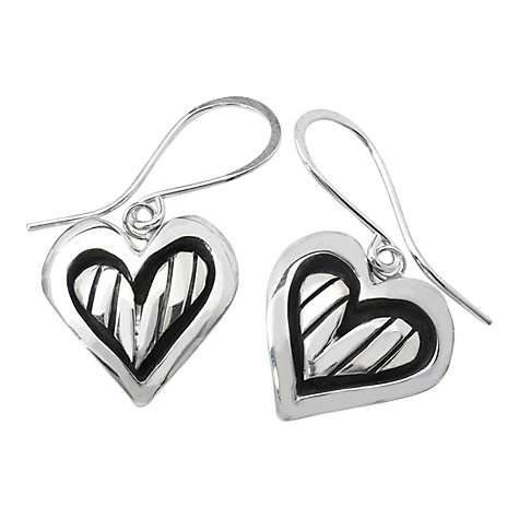 Buy Linda Macdonald Stripey Heart Drop Earrings, Silver Online at johnlewis.com