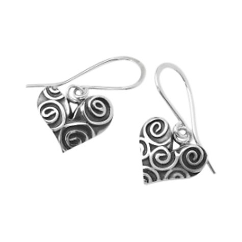 Buy Linda Macdonald Swirl Heart Drop Earrings, Silver Online at johnlewis.com