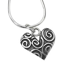 Buy Linda Macdonald Swirl Heart Pendant Necklace, Silver Online at johnlewis.com