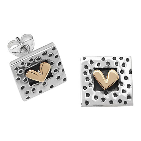 Buy Linda Macdonald Spotty Heart Stud Earrings, Silver/Gold Online at johnlewis.com