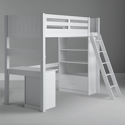 Buy John Lewis Ashton High Sleeper with Bookcase and Desk, White Online at johnlewis.com
