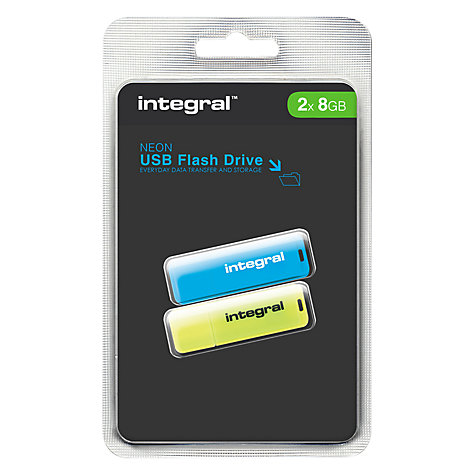 Buy Integral 8GB USB Flash Drive, Neon Twin Pack Online at johnlewis.com