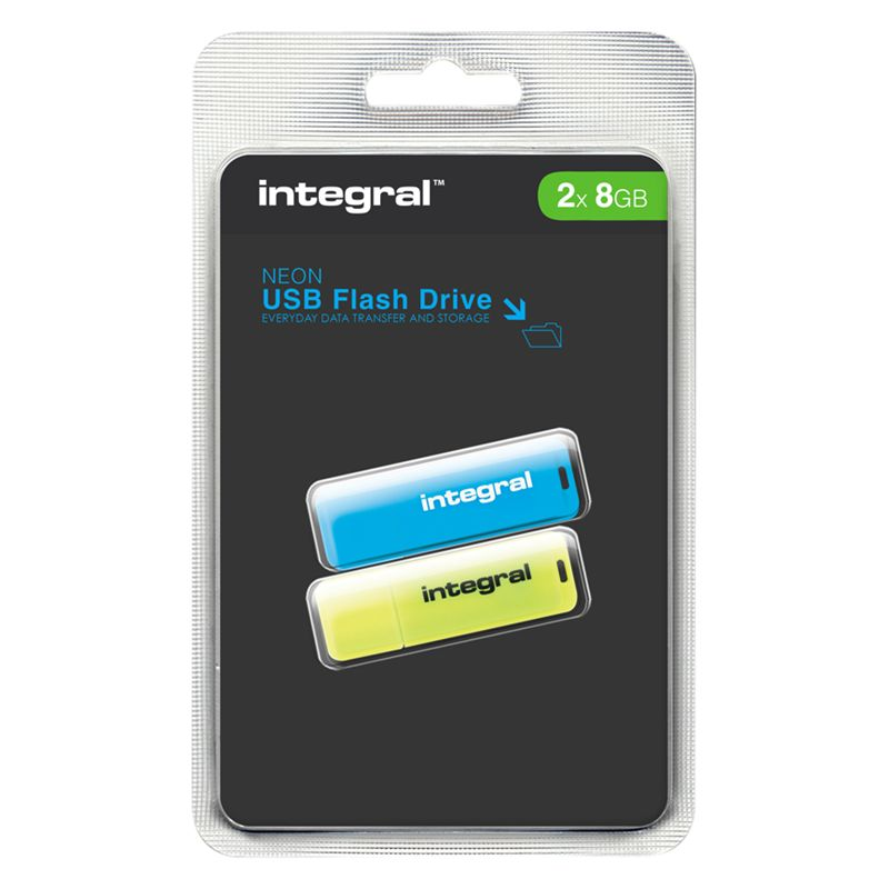 Integral 8gb Usb Flash Drive, Neon Twin Pack