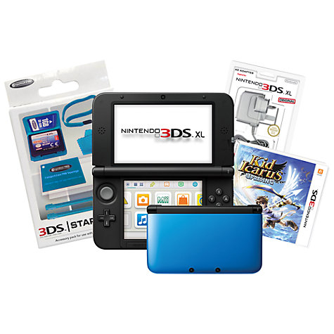 Buy Nintendo 3DS XL, Blue with Kid Icarus: Uprising Game, Adapter & Stylus Pack Online at johnlewis.com