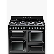 Buy Smeg TR4110BL1 Dual Fuel Range Cooker with HALF PRICE KT110BL 110cm Chimney Cooker Hood, Black Online at johnlewis.com