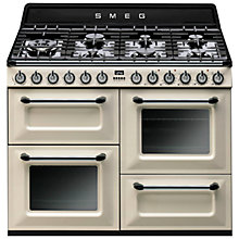 Buy Smeg TR4110P1 Dual Fuel Range Cooker with HALF PRICE KT110P 110cm Chimney Cooker Hood, Cream Online at johnlewis.com