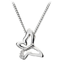 Buy Hot Diamonds Flutter Micro Pendant Necklace, Silver Online at johnlewis.com