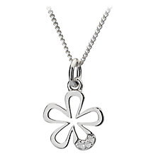 Buy Hot Diamonds Petals Micro Pendant Necklace, Silver Online at johnlewis.com