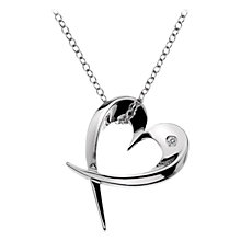 Buy Hot Diamonds Small Heart Pendant Necklace, Silver Online at johnlewis.com