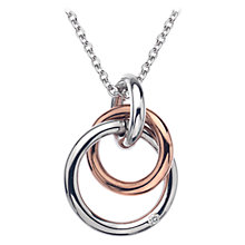 Buy Hot Diamonds Interlocking Hoops Pendant Necklace, Silver/Rose Gold Online at johnlewis.com