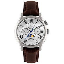 Buy Rotary GS02838/01 Men's Timepieces Moon Phase Chronograph Leather Strap Watch, Brown/Silver Online at johnlewis.com
