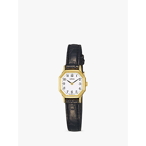 Buy Lorus RPG40BX8 Women's Hexagonal Dial Leather Strap Watch, Black Online at johnlewis.com