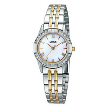 Buy Lorus RRS93TX9 Women's Two-Tone Diamond Set Bezel Bracelet Watch, Silver/Gold Online at johnlewis.com