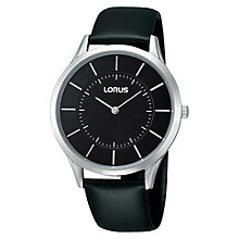 Buy Lorus RTA23AX9 Men's Classic Black Dial Leather Strap Watch, Black Online at johnlewis.com