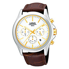 Buy Lorus RT383AX9 Men's Classic Chronograph Date Leather Strap Watch, Brown/White Online at johnlewis.com