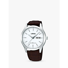 Buy Lorus RXN43CX9 Men's Classic White Dial Leather Strap Watch, Brown/White Online at johnlewis.com