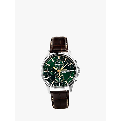 Seiko SNAF09P1 Men's Chronograph Green Dial Leather Strap Watch, Brown/Green