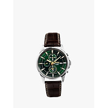Buy Seiko SNAF09P1 Men's Chronograph Leather Strap Watch, Brown/Green Online at johnlewis.com