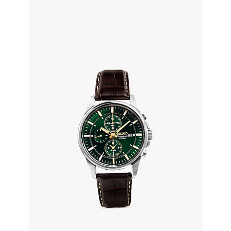 Buy Seiko SNAF09P1 Men's Chronograph Green Dial Leather Strap Watch, Brown/Green Online at johnlewis.com