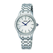Buy Seiko SRZ385P1 Women's Swarovski Crystal Bracelet Strap Watch, Silver/White Online at johnlewis.com