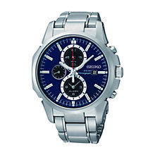 Buy Seiko SSC085P1 Men's Solar Chronograph Blue Dial Bracelet Watch, Blue/Silver Online at johnlewis.com