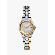 Buy Seiko SUT068P9 Women's Solar Diamond Set Bezel Two-Tone Bracelet Watch, Silver/Gold Online at johnlewis.com