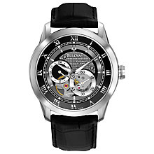 Buy Bulova 96A135 Men's Mechanical Chronograph Leather Strap Watch, Black Online at johnlewis.com