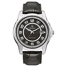Buy Bulova 96B127 Men's Precisionist Claremont Leather Strap Watch, Black Online at johnlewis.com