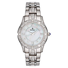 Buy Bulova 96L116 Women's Crystal Diamond Set Bezel Bracelet Watch, Silver Online at johnlewis.com