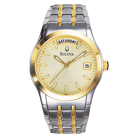 Buy Bulova 98C60 Men's Dress Two-Tone Bracelet Watch, Silver/Gold Online at johnlewis.com