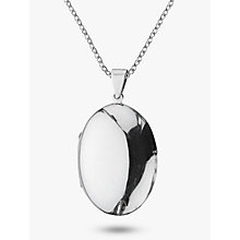 Buy Nina Breddal Plain Locket Pendant Necklace, Silver Online at johnlewis.com