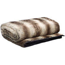 Buy Helene Berman Faux Fur Stripe Throw, Grey Online at johnlewis.com