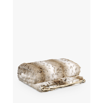 Helene Berman Faux Fur Spot Throw, Cream