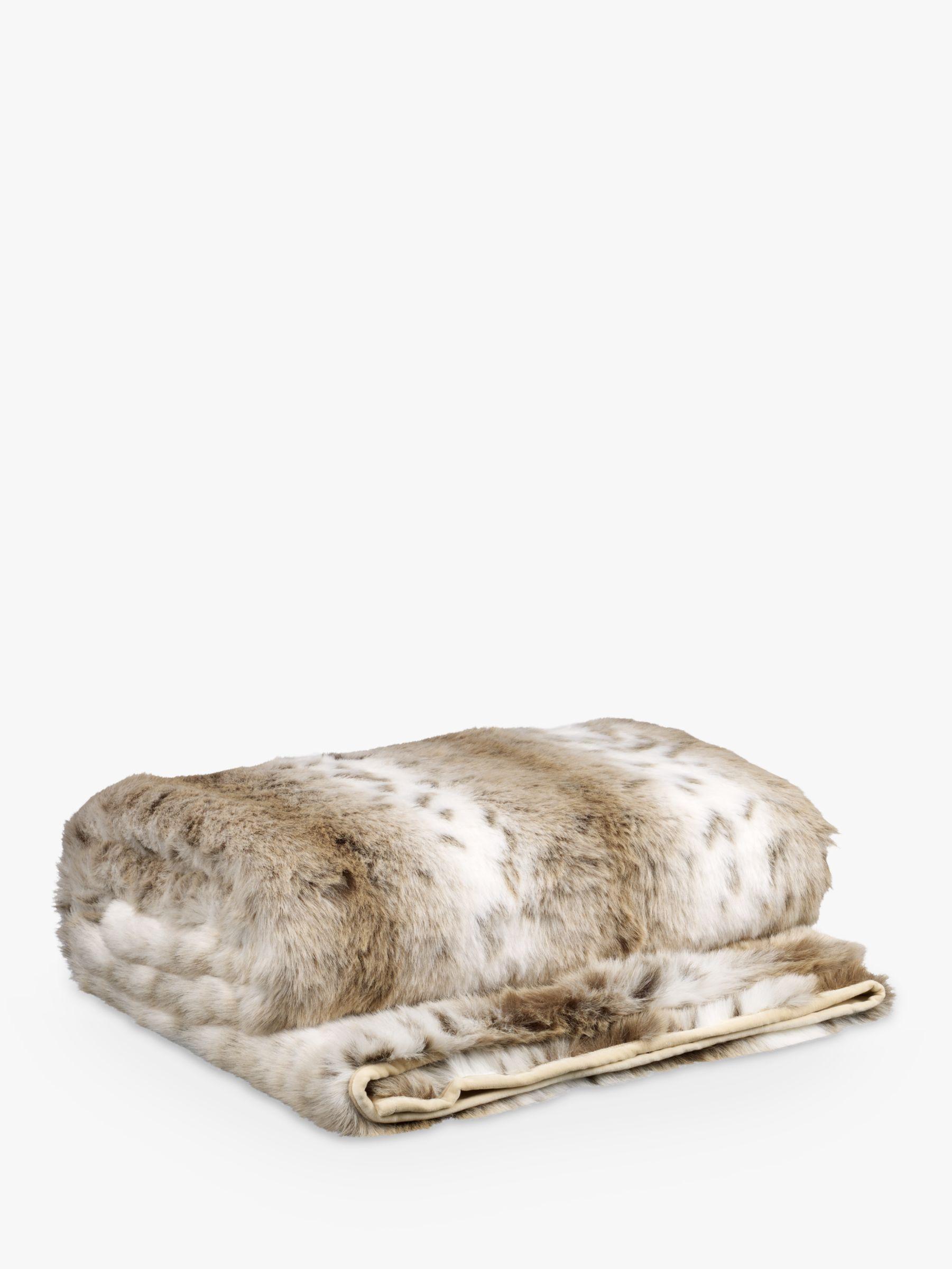Helene Berman Helene Berman Faux Fur Spot Throw, Cream