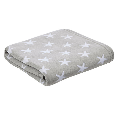 Buy John Lewis Baby Star Knitted Blanket, Grey Online at johnlewis.com