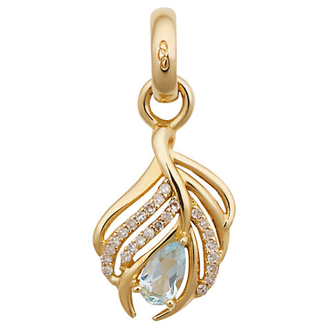 Buy Links of London 18ct Gold and Diamond Peacock Feather Charm, Gold Online at johnlewis.com