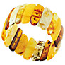 Be-Jewelled Classic Stretch Cuff Long Amber Bead Bangle, Yellow