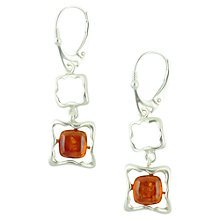 Buy Be-Jewelled Sterling Silver Amber Square Frame Style Drop Earrings Online at johnlewis.com