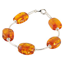 Buy Be-Jewelled Sterling Silver Amber Round Bead Bracelet, Orange Online at johnlewis.com