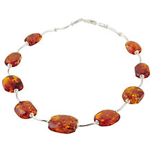 Buy Be-Jewelled Amber Bead and Silver Tube Collar Necklace, Orange Online at johnlewis.com