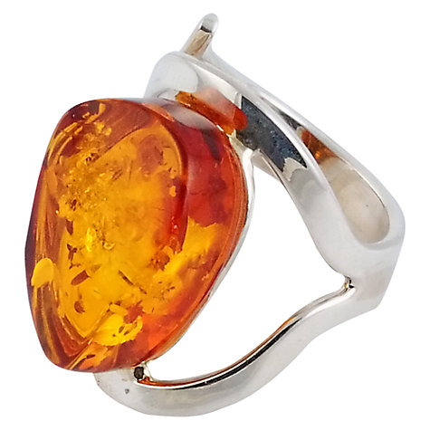Buy Be-Jewelled Sterling Silver Amber Cocktail Style Ring, Orange, O Online at johnlewis.com