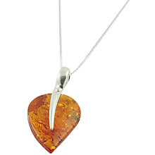 Buy Be-Jewelled Sterling Silver and Amber Leaf Shape Pendant Necklace, Orange Online at johnlewis.com