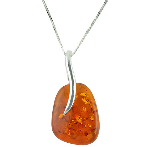 Buy Be-Jewelled Sterling Silver Amber Pendant Necklace, Orange Online at johnlewis.com